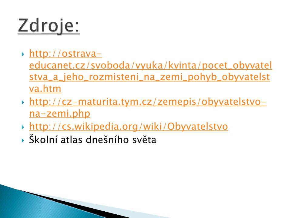 Zdroje: http://ostrava- educanet.cz/svoboda/vyuka/kvinta/pocet_obyvatel stva_a_jeho_rozmisteni_na_zemi_pohyb_obyvatelst va.htm.