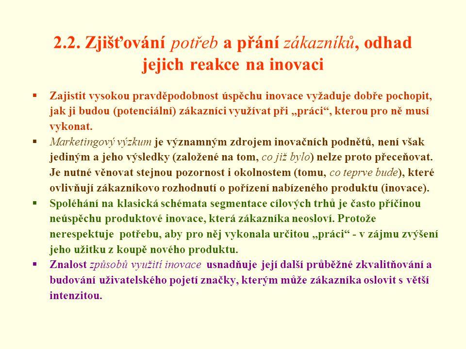 2.2. Zjišťování potřeb a přání zákazníků, odhad jejich reakce na inovaci