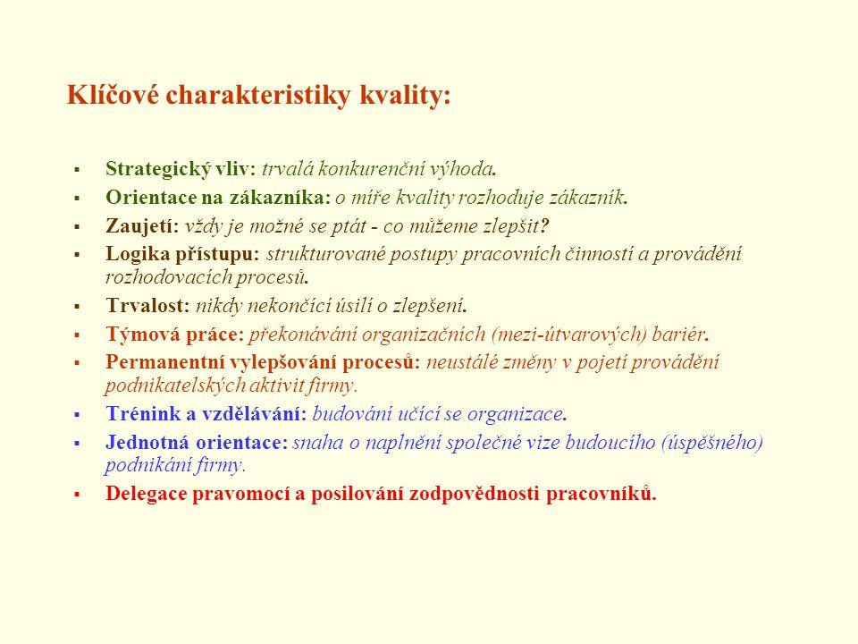 Klíčové charakteristiky kvality: