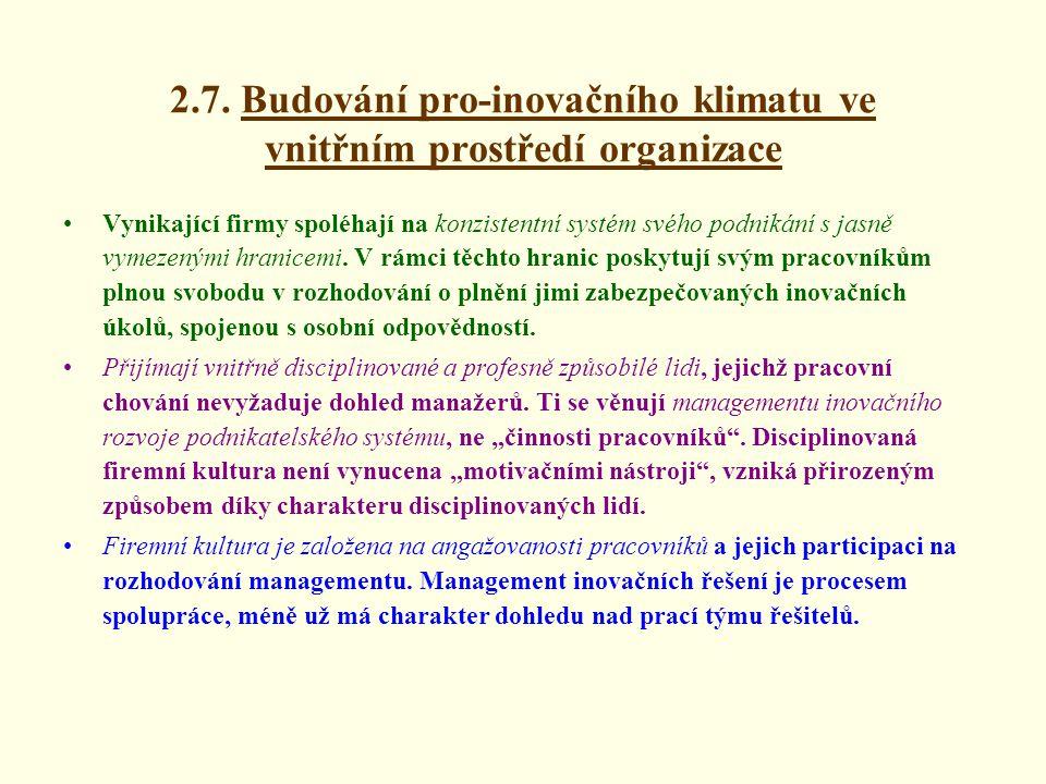 2.7. Budování pro-inovačního klimatu ve vnitřním prostředí organizace
