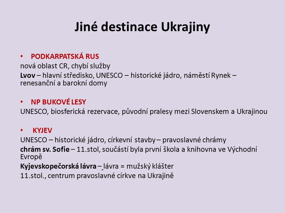 Jiné destinace Ukrajiny