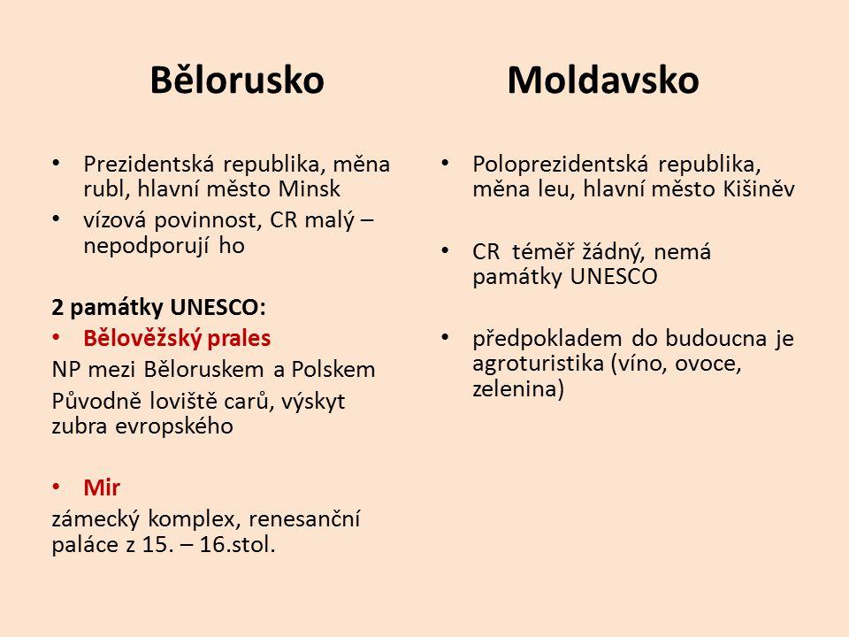 Bělorusko Moldavsko Prezidentská republika, měna rubl, hlavní město Minsk. vízová povinnost, CR malý – nepodporují ho.