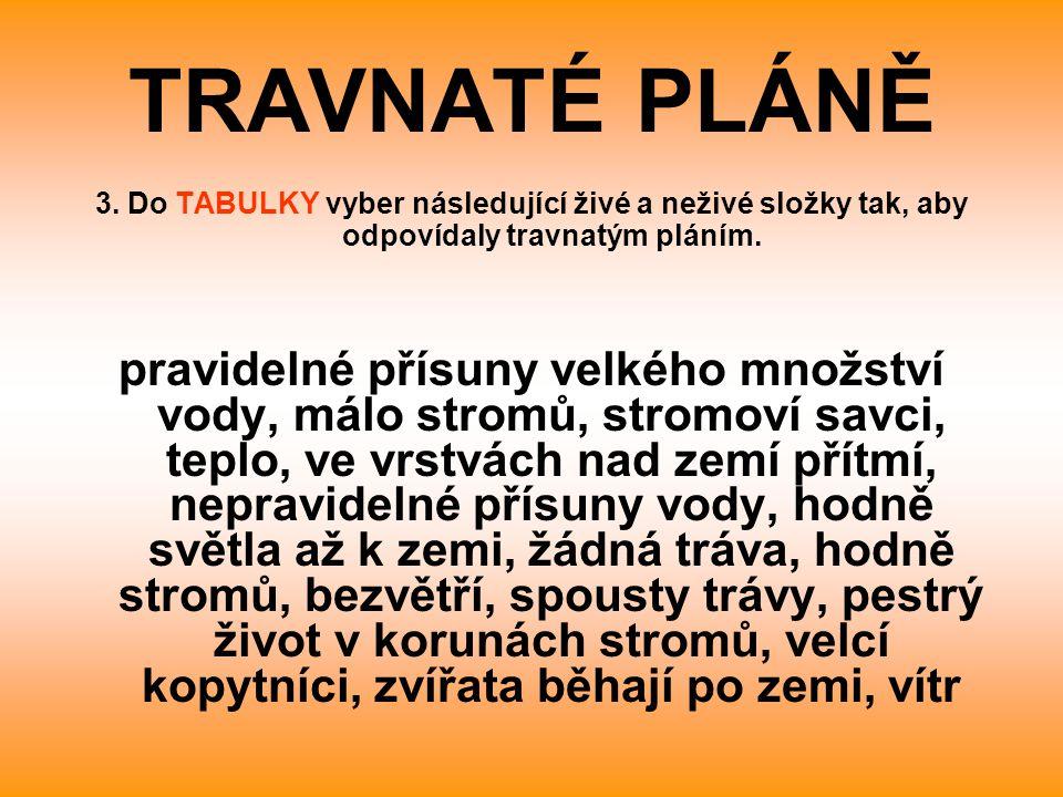 TRAVNATÉ PLÁNĚ 3. Do TABULKY vyber následující živé a neživé složky tak, aby odpovídaly travnatým pláním.