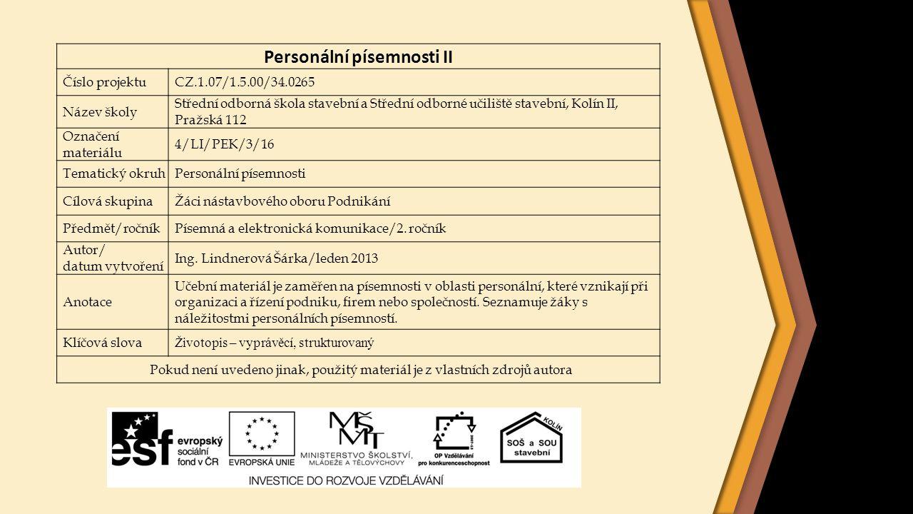 Personální písemnosti II