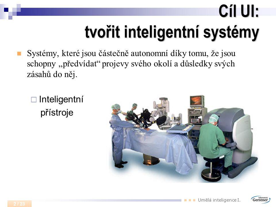 Cíl UI: tvořit inteligentní systémy