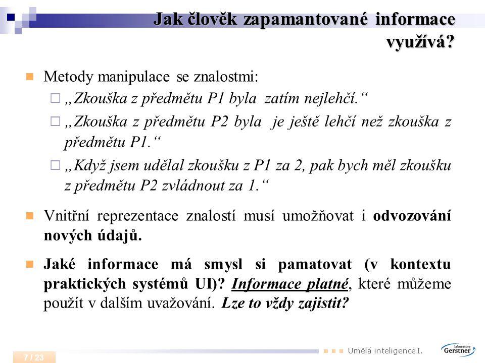 Jak člověk zapamantované informace využívá
