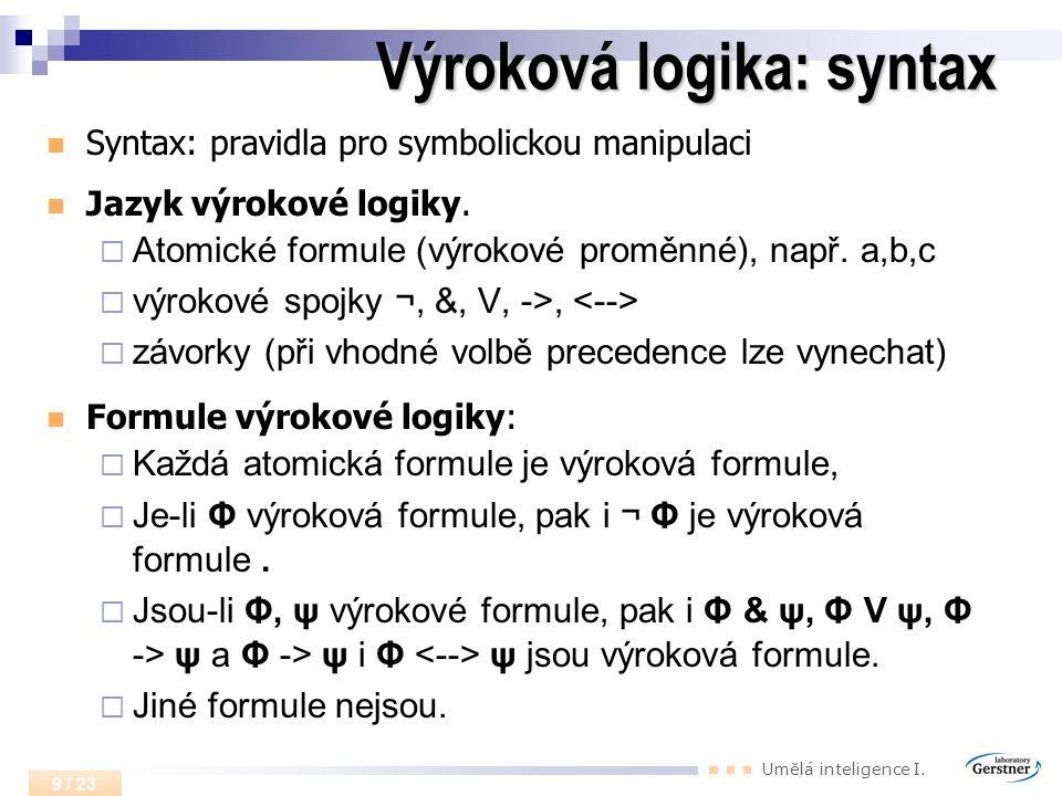Výroková logika: syntax