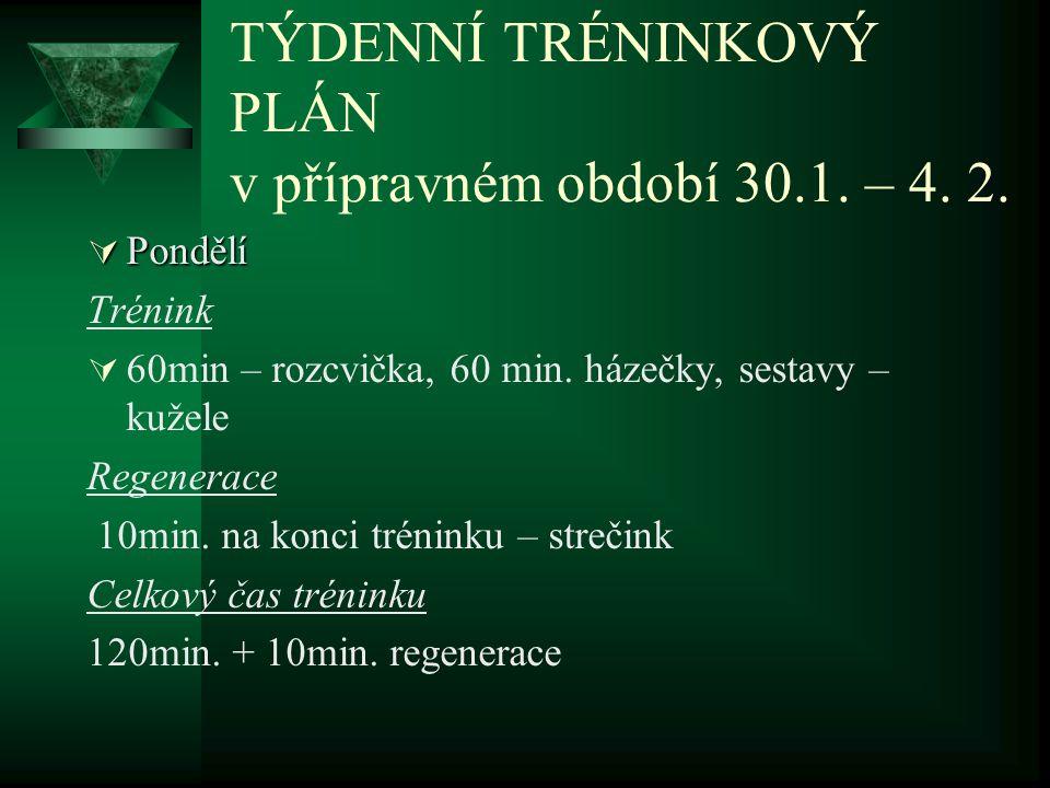 TÝDENNÍ TRÉNINKOVÝ PLÁN v přípravném období 30.1. – 4. 2.