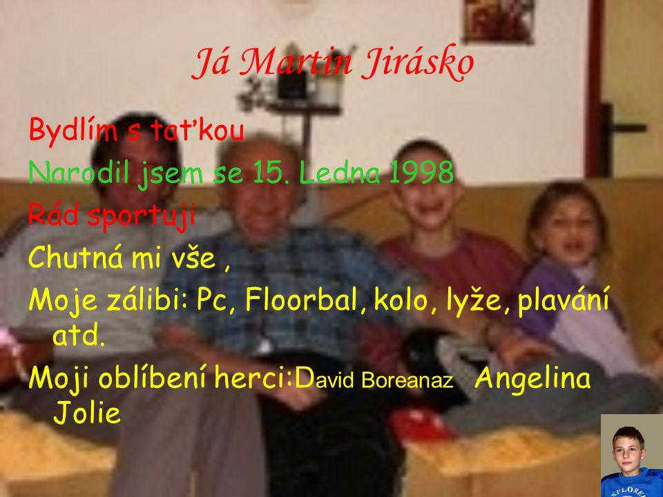 Já Martin Jirásko Bydlím s taťkou Narodil jsem se 15. Ledna 1998