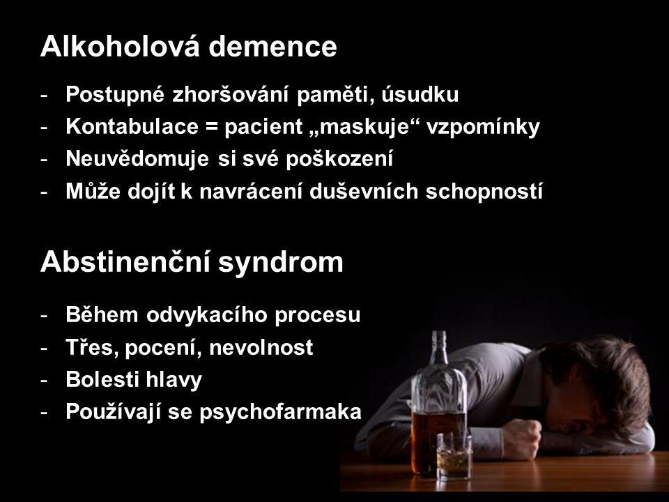 Alkoholová demence Abstinenční syndrom