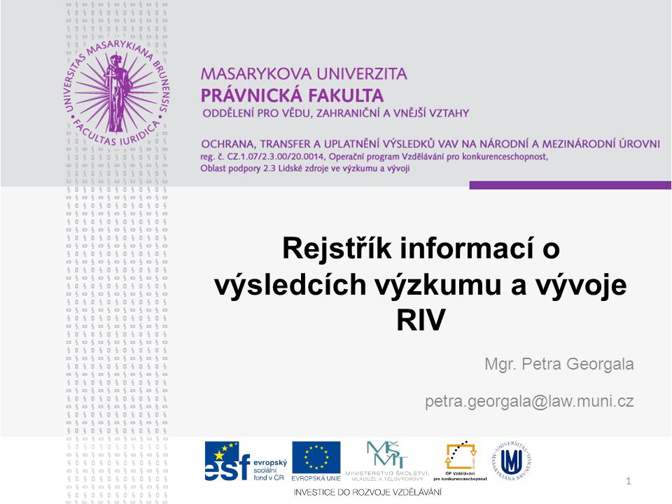 Rejstřík informací o výsledcích výzkumu a vývoje RIV