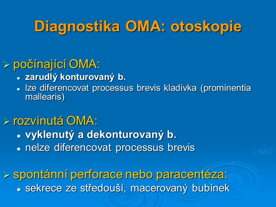 Diagnostika OMA: otoskopie