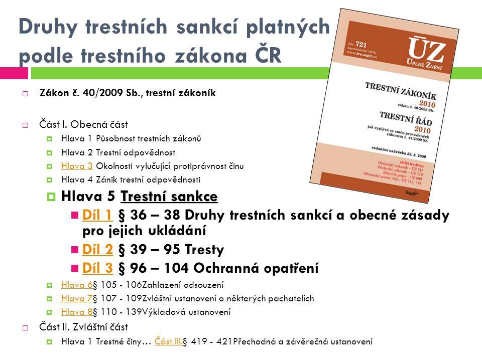 Druhy trestních sankcí platných podle trestního zákona ČR