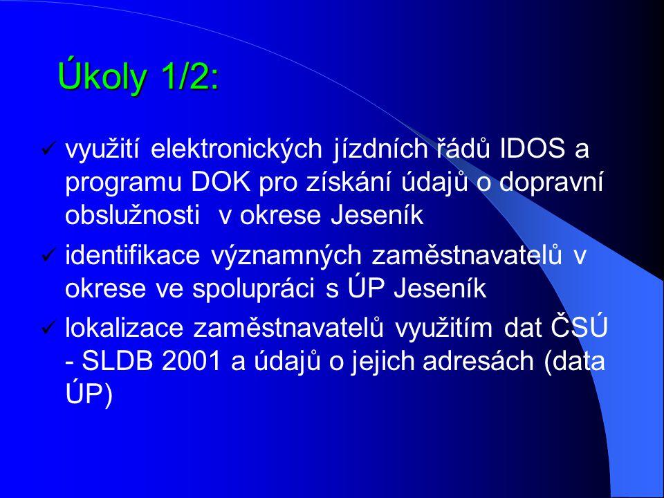 Úkoly 1/2: využití elektronických jízdních řádů IDOS a programu DOK pro získání údajů o dopravní obslužnosti v okrese Jeseník.