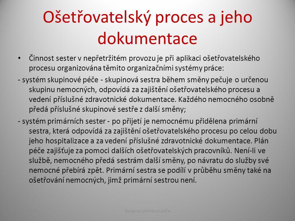 Ošetřovatelský proces a jeho dokumentace