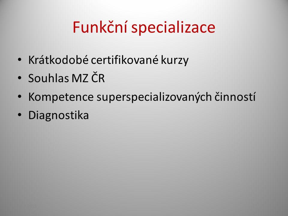 Funkční specializace Krátkodobé certifikované kurzy Souhlas MZ ČR