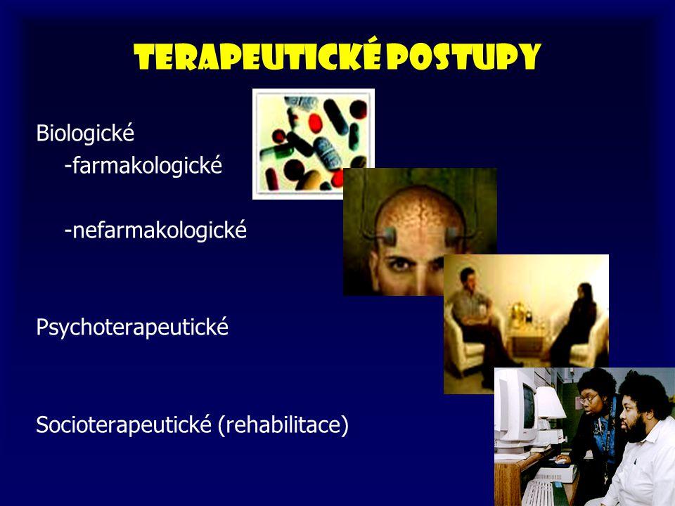 Terapeutické postupy Biologické -farmakologické -nefarmakologické