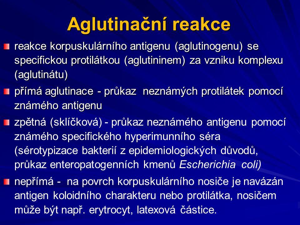 Aglutinační reakce reakce korpuskulárního antigenu (aglutinogenu) se specifickou protilátkou (aglutininem) za vzniku komplexu (aglutinátu)