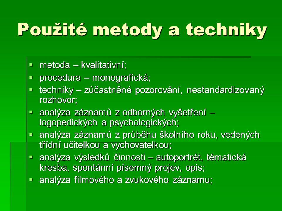 Použité metody a techniky