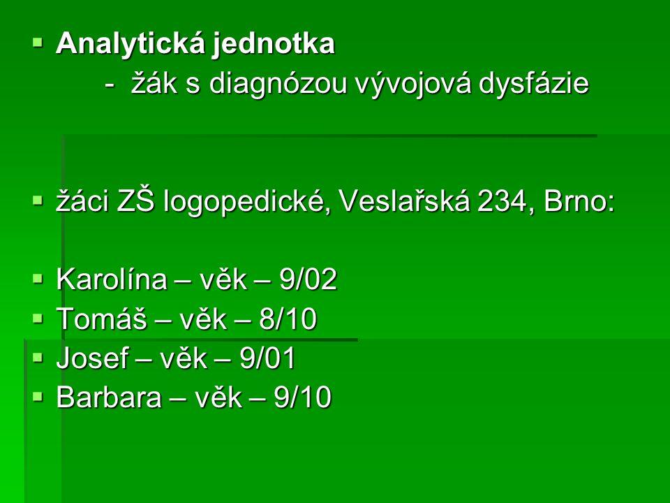 Analytická jednotka - žák s diagnózou vývojová dysfázie. žáci ZŠ logopedické, Veslařská 234, Brno: