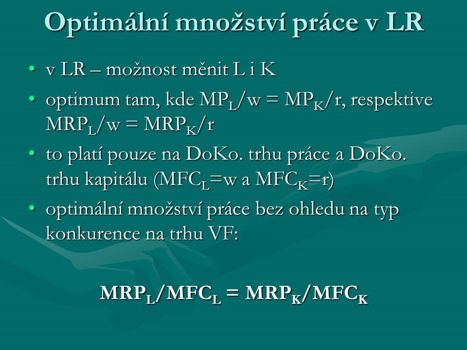 Optimální množství práce v LR