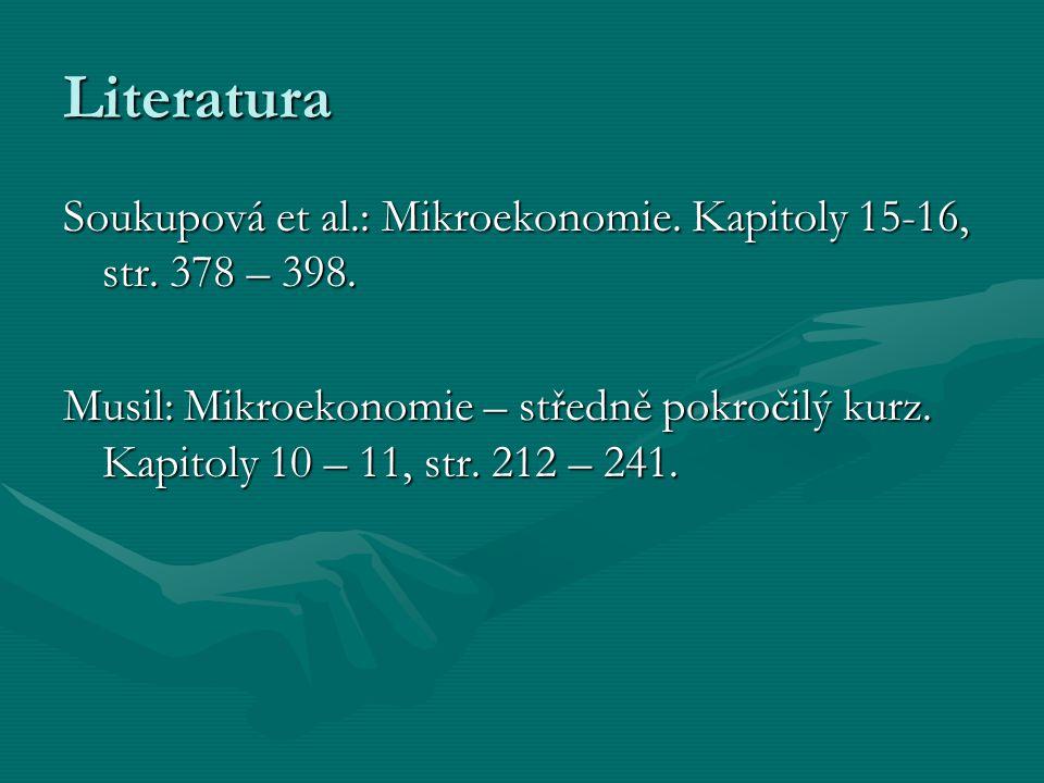 Literatura Soukupová et al.: Mikroekonomie. Kapitoly 15-16, str. 378 – 398.