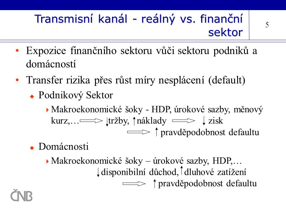 Transmisní kanál - reálný vs. finanční sektor