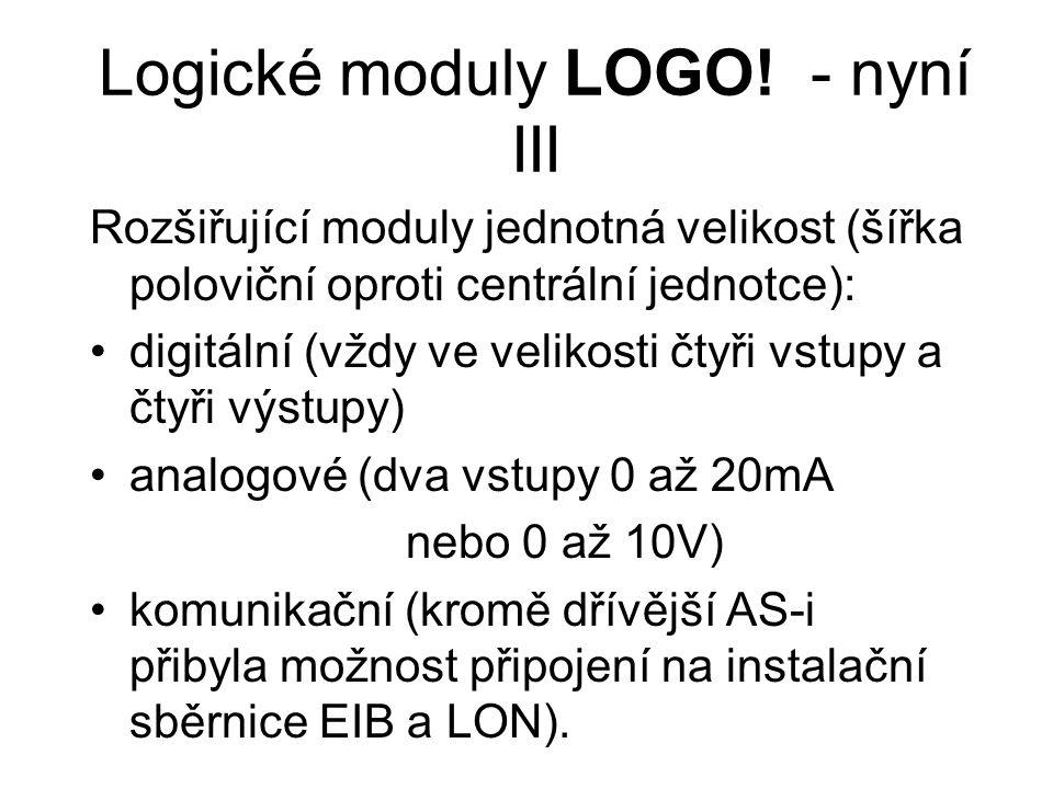 Logické moduly LOGO! - nyní III