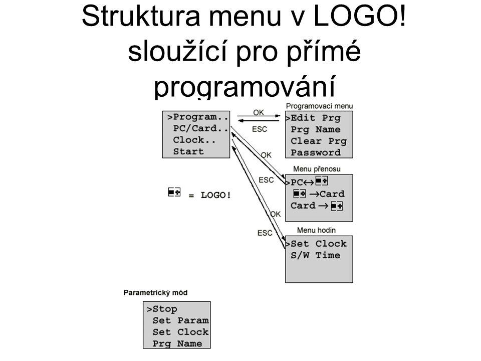 Struktura menu v LOGO! sloužící pro přímé programování