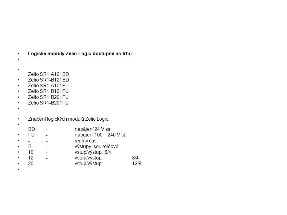 Logicke moduly Zelio Logic dostupné na trhu: