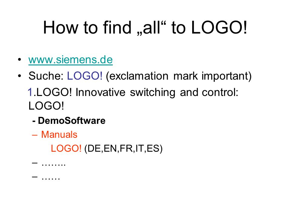 "How to find ""all to LOGO!"