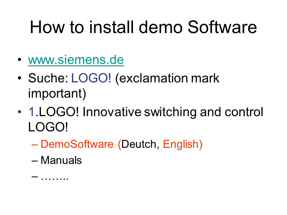 How to install demo Software