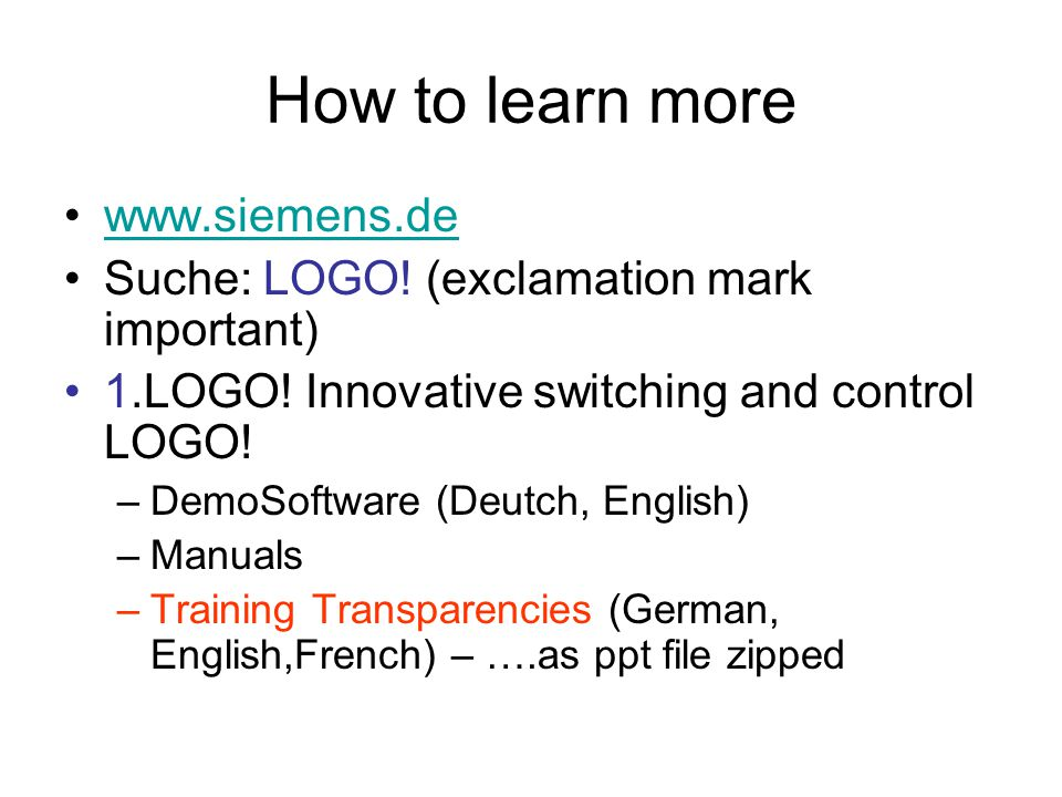 How to learn more www.siemens.de