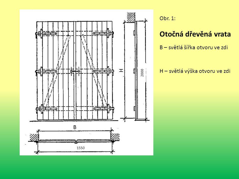 Otočná dřevěná vrata Obr. 1: B – světlá šířka otvoru ve zdi