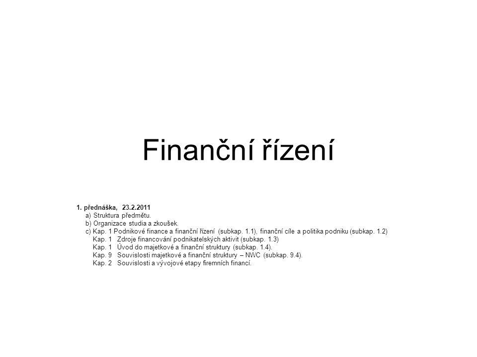Finanční řízení 1. přednáška, 23.2.2011 a) Struktura předmětu.