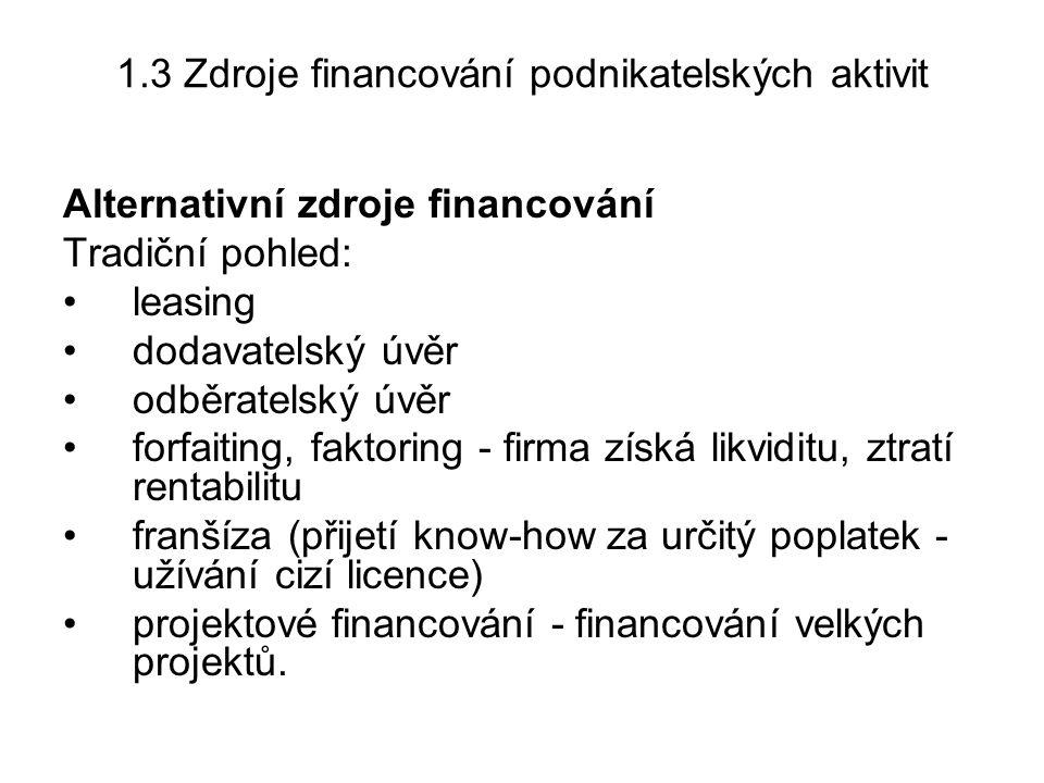 1.3 Zdroje financování podnikatelských aktivit
