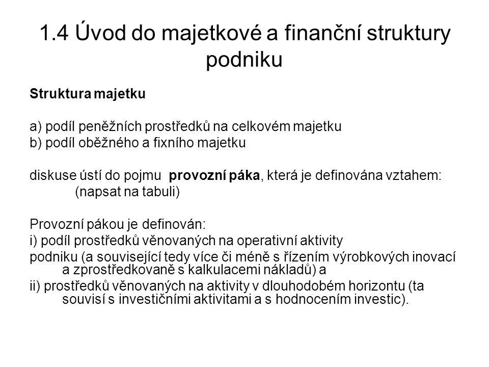 1.4 Úvod do majetkové a finanční struktury podniku