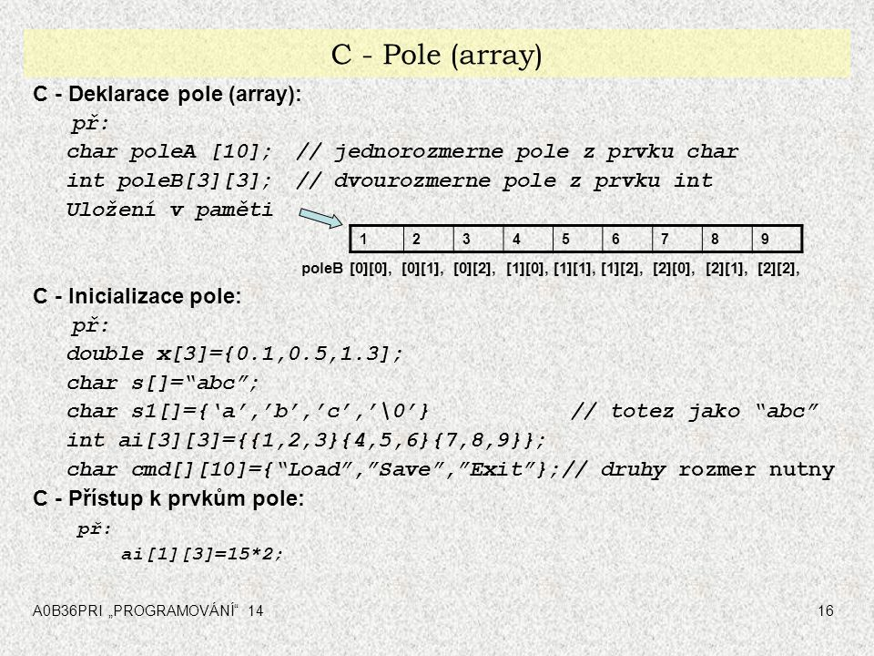 C - Pole (array) C - Deklarace pole (array): př: