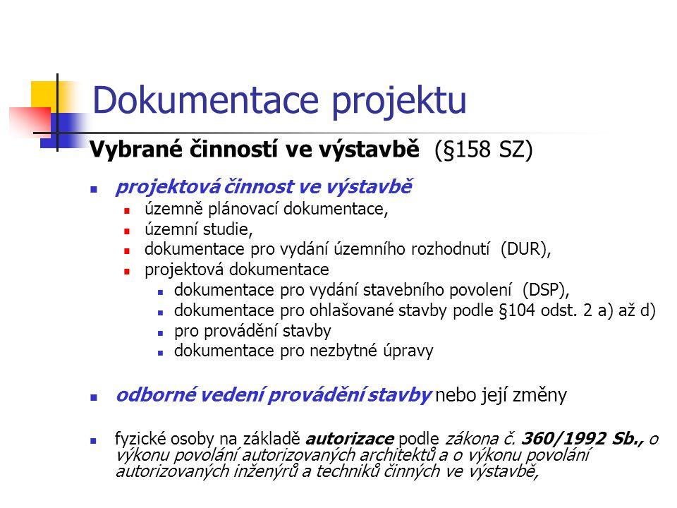 Dokumentace projektu Vybrané činností ve výstavbě (§158 SZ)