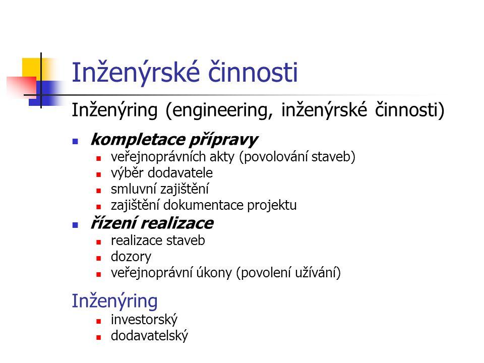 Inženýrské činnosti Inženýring (engineering, inženýrské činnosti)