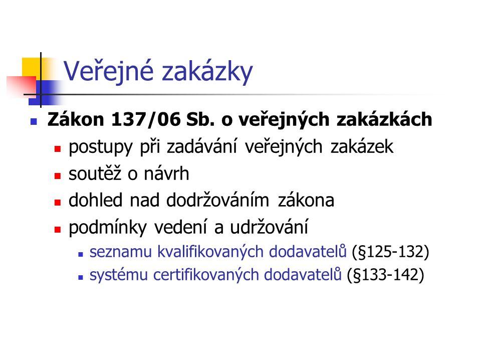 Veřejné zakázky Zákon 137/06 Sb. o veřejných zakázkách