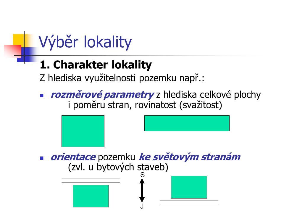 Výběr lokality 1. Charakter lokality