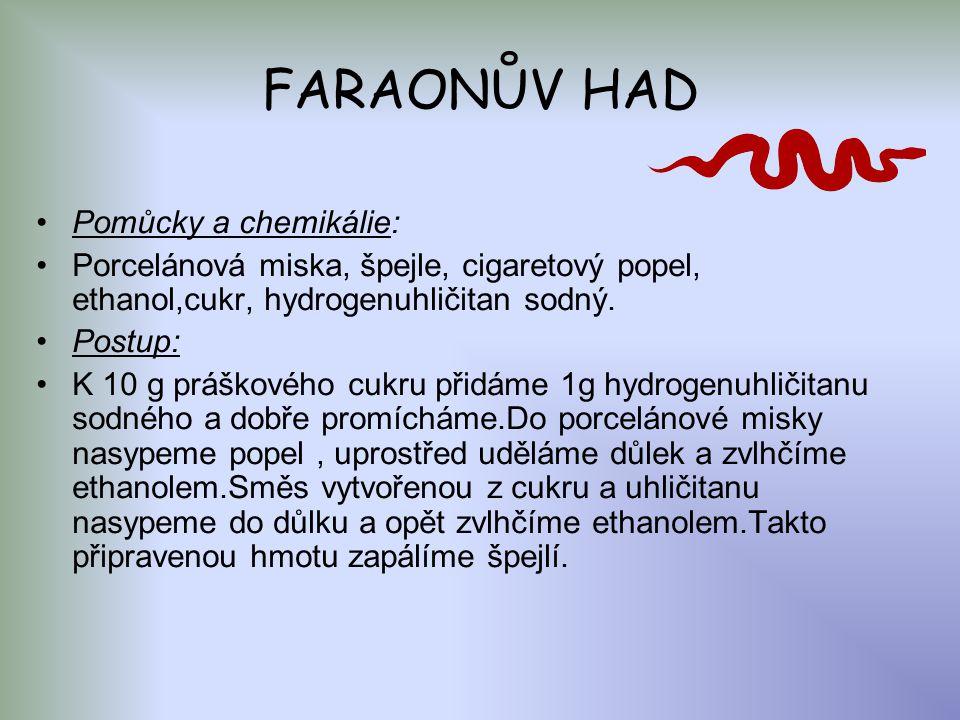 FARAONŮV HAD Pomůcky a chemikálie: