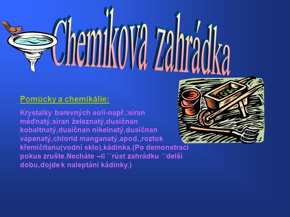 Chemikova zahrádka Pomůcky a chemikálie:
