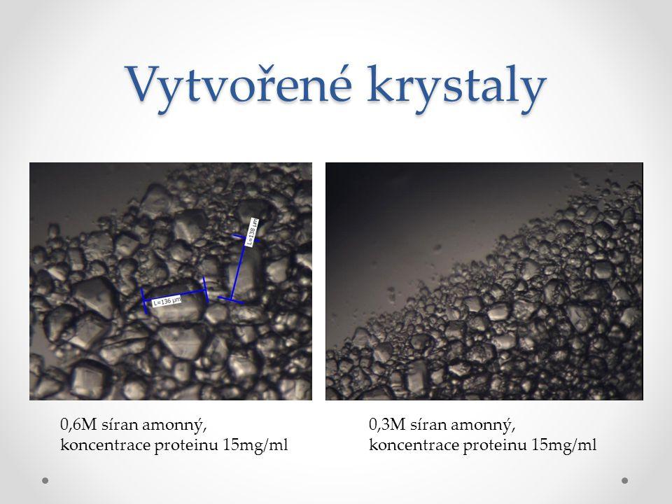 Vytvořené krystaly 0,6M síran amonný, koncentrace proteinu 15mg/ml