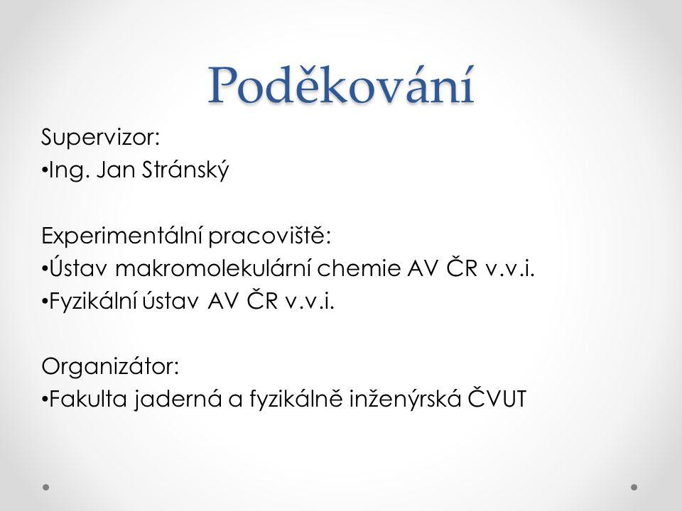 Poděkování Supervizor: Ing. Jan Stránský Experimentální pracoviště: