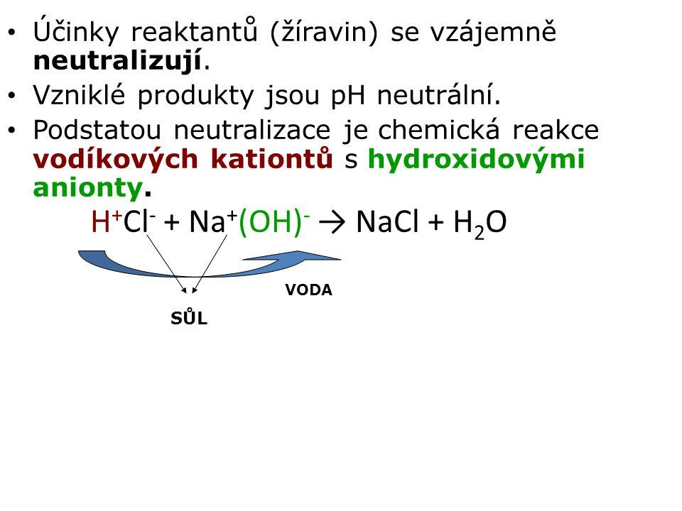 H+Cl- + Na+(OH)- → NaCl + H2O