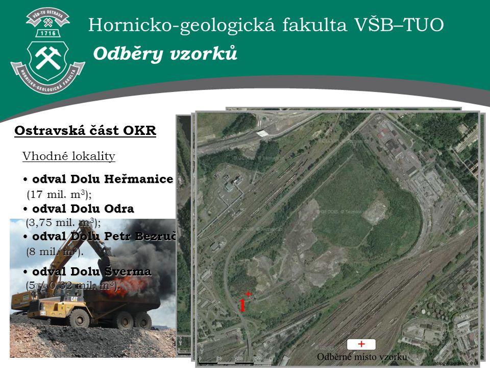 Odběry vzorků Ostravská část OKR Vhodné lokality odval Dolu Heřmanice