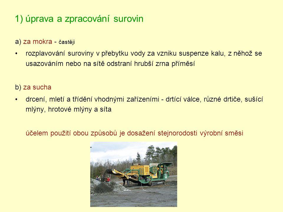 1) úprava a zpracování surovin