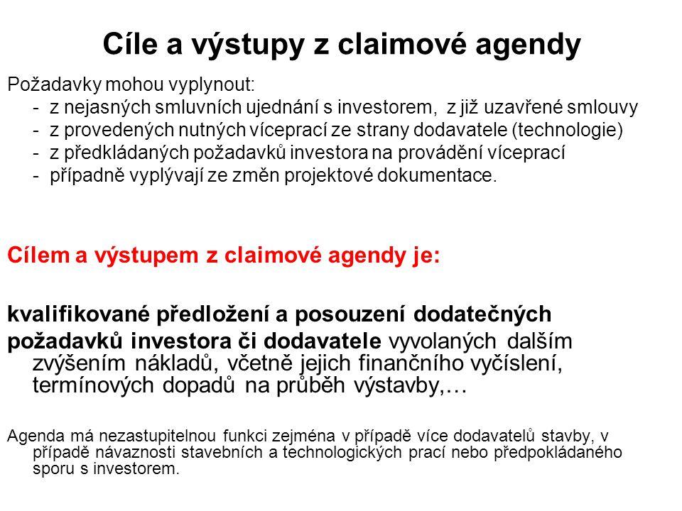 Cíle a výstupy z claimové agendy